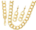 Overlap Set 18K Gold Layered Set Chain & Earrings