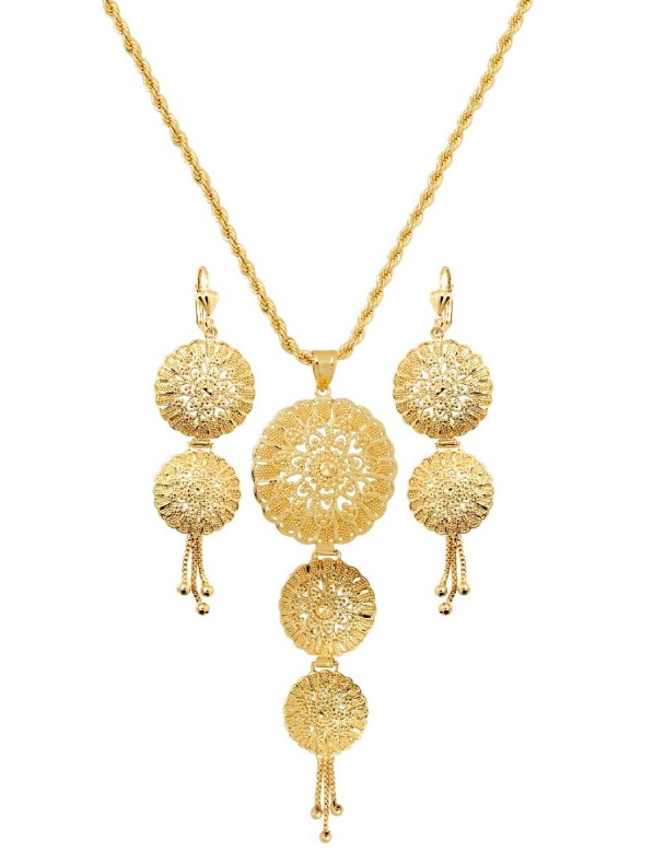 Zinia Flower 18K Gold Layered Chain and Earrings Set