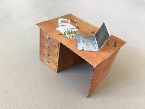 Neil Beloufa, Desk, Self Assembly Paper Artwork, 2021