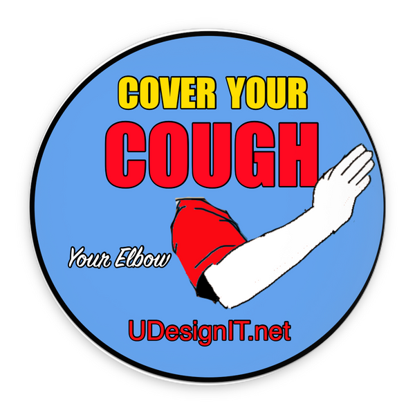 Cover Your Cough (with your elbow) Pin-Back Buttons 2.25""