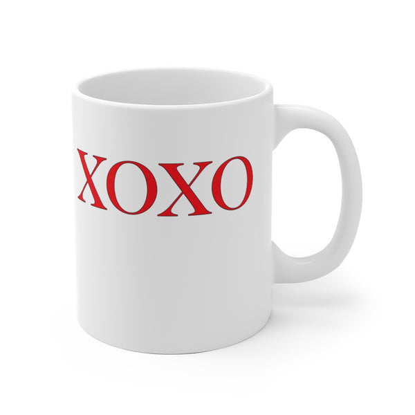 XOXO White Ceramic Mug - Personalizable & Customizable Mug 11oz and 15oz