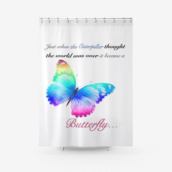 Just when the caterpillar through the world was over ...Textured Fabric Shower Curtain Printed Bathroom Curtains