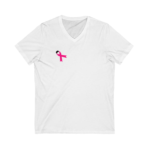 Breast Cancer Awareness Ribbon T-shirt - Customizable and Personalizable (Woman V-Neck Tee) Design Online or Buy It Blank