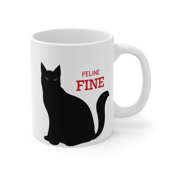 Custom Pet White Ceramic Mug 11oz Feline Fine