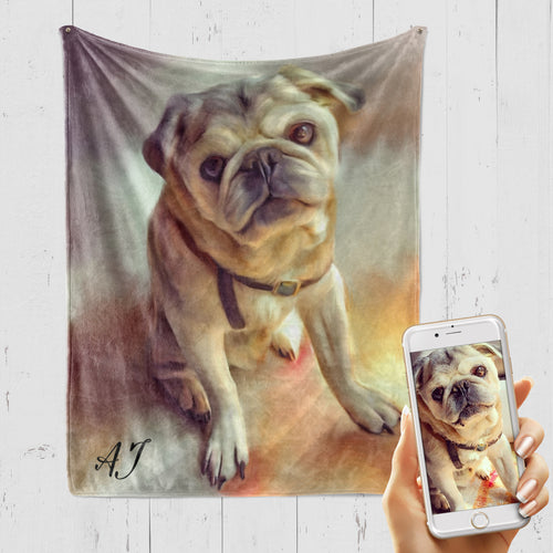 PAINT STYLE Pet Art Blanket, Upload Your Photos, We Design a Custom Blanket!