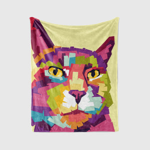 Pet Art Blanket - POP STYLE  - Upload Your Pets Photo - We Create Custom Art on a Blanket!
