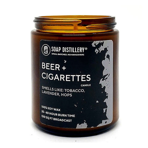 Beer + Cigarettes Candles by Soap Distillery