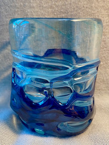 Aqua and Blue Wrapped Glass