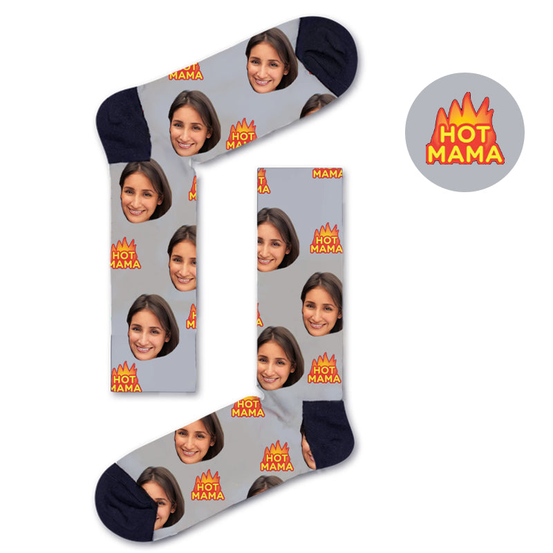 Custom HOT MAMA Socks - Custom Socks|Custom dog socks|Cat socks|Face Socks|Photo socks