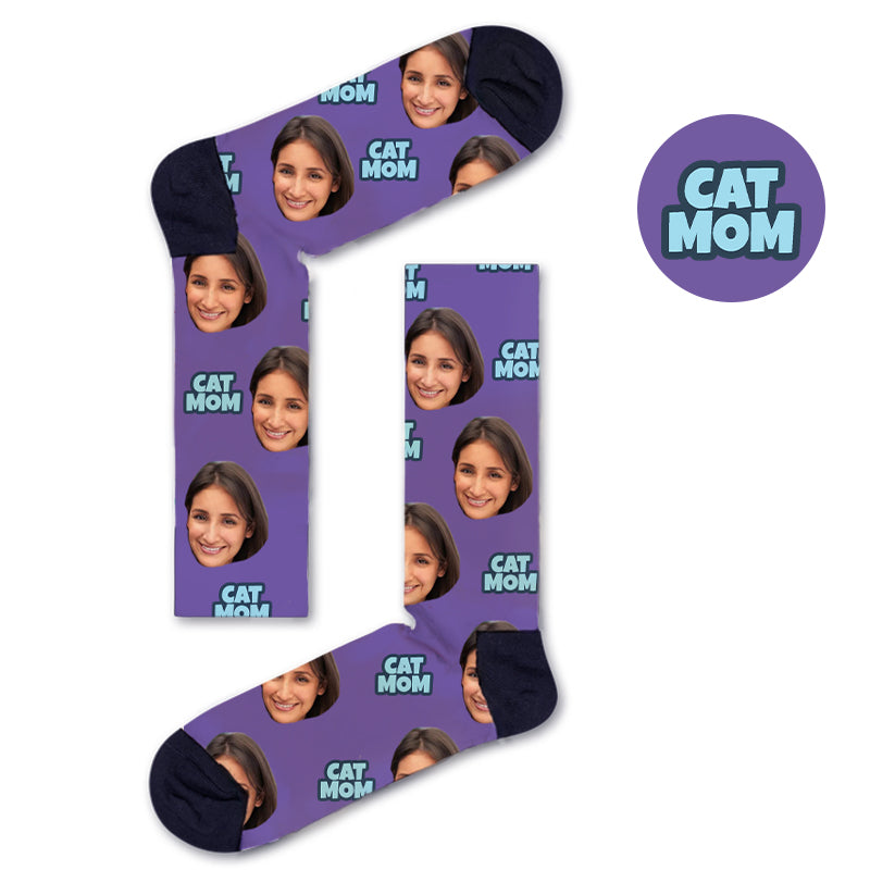 Custom CAT MOM Socks - Custom Socks|Custom dog socks|Cat socks|Face Socks|Photo socks