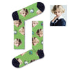 Custom White and green asteroids Socks