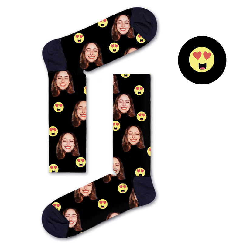 Custom Heart Eyes Socks - Custom Socks|Custom dog socks|Cat socks|Face Socks|Photo socks
