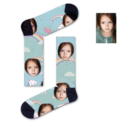 Custom Unicorn Rainbow Kids Socks