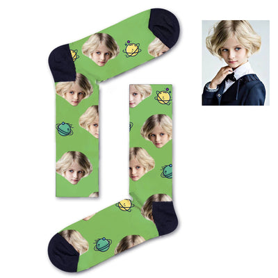Custom Yellow and green asteroids Socks