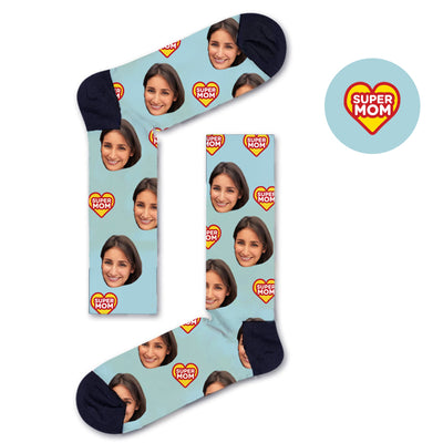 Custom SUPER MOM Socks - Custom Socks|Custom dog socks|Cat socks|Face Socks|Photo socks