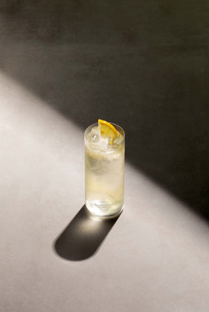 Black Lines Elderflower Collins Cocktail single serve in a clear highball glass with cubed ice and garnished with a lemon slice.