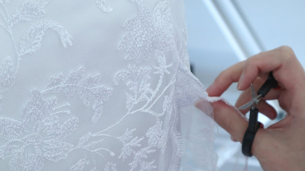 Making of a Bridal Gown Part 6: Lace Finishing & Hem