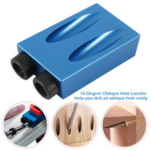 Woodworking Pocket Hole Jig 6mm 8mm 10mm 15 Degree Angle Drill Guide Set Hole Puncher Locator Jig Drill Bit DIY Carpentry Tools