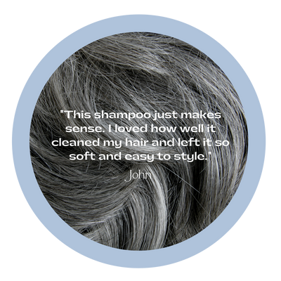 "Dark grey hair with testimonial overlay, ""This shampoo just makes sense. I loved how well it cleaned my hair and left it so soft and easy to style."""