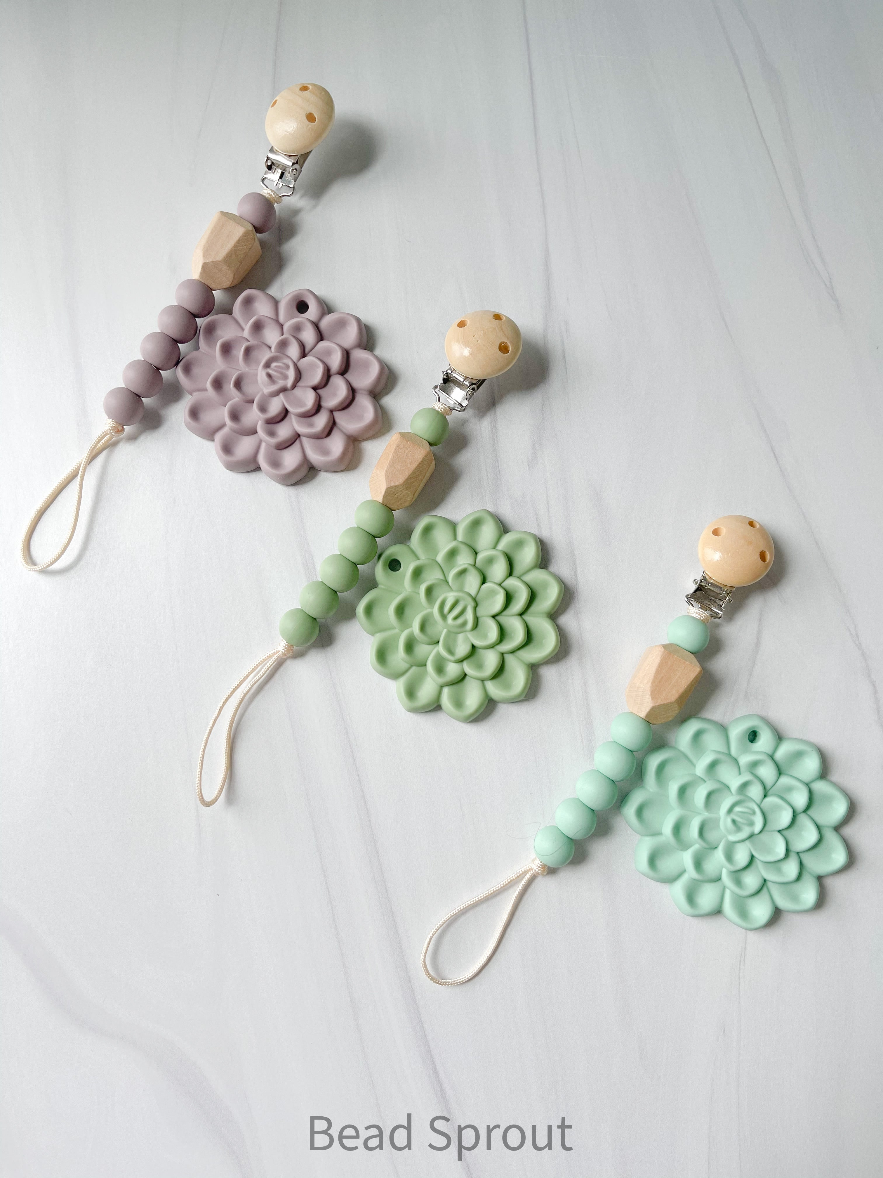 Succulent Teether + Clip, Baby Teether and pacifier clip, Newborn gift set, Bead Sprout