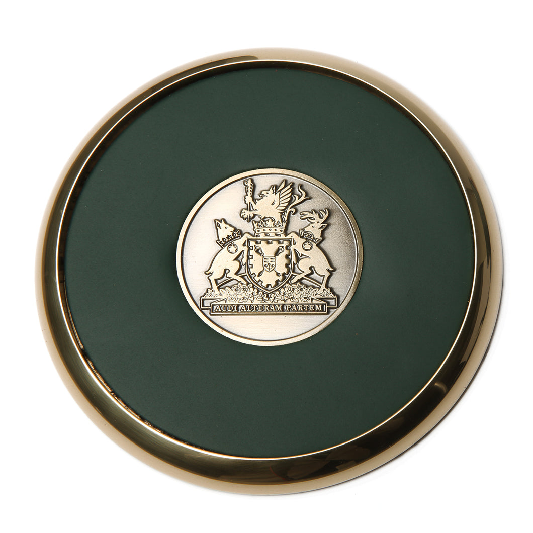 Brass-and-leather coaster