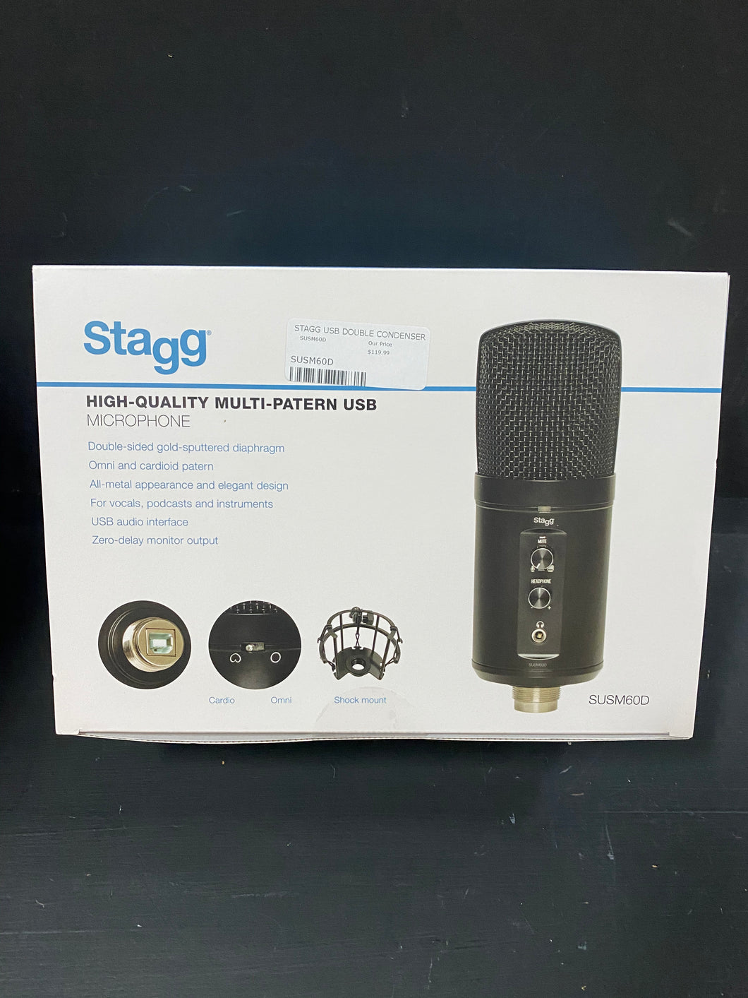Stagg SUSM60D Double condenser USB microphone, metal finish