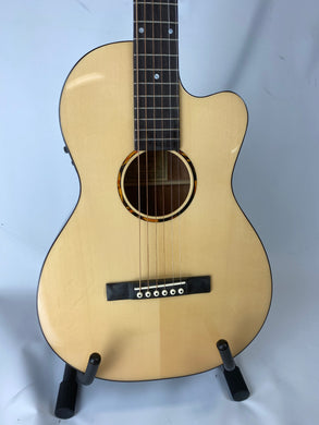 Recording King RP-G6-CFE5 Solid Top Single 0 Cutaway Acoustic Electric Guitar, Natural