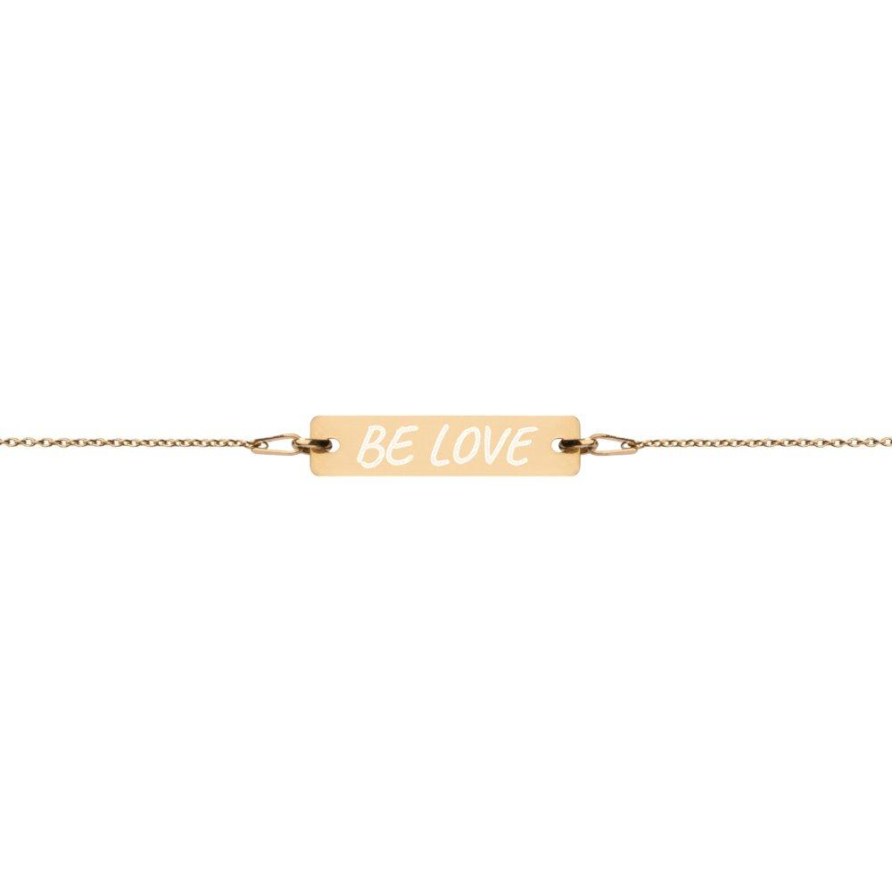 Be Love Bracelet - Engraved 24K Gold Coated Silver Bar on The Good Shop Online Store