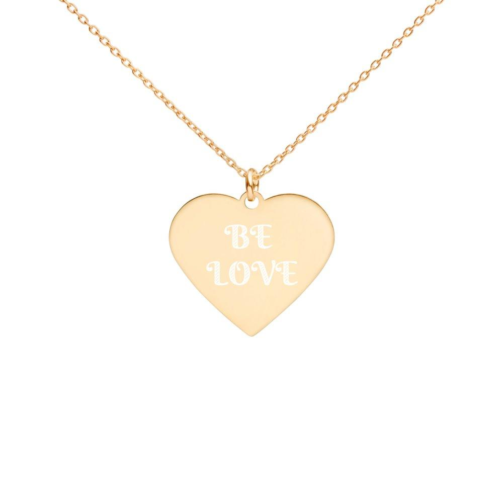 Be Love Heart Necklace - Engraved 24K Gold Coated Silver on The Good Shop Online Store