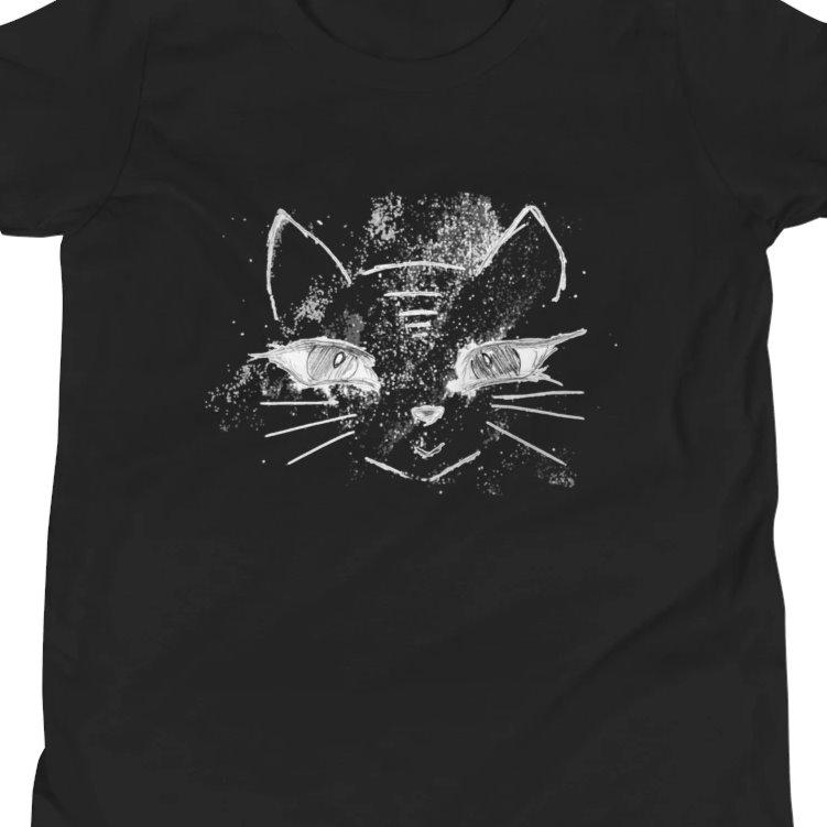 Cat T-shirt - Annie Puaso - Black - Youth Sizes on The Good Shop Online Store