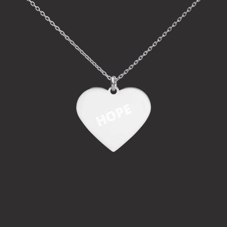 "Childhope ""HOPE"" Silver Heart Necklace with White Rhodium Coating on The Good Shop Online Store"
