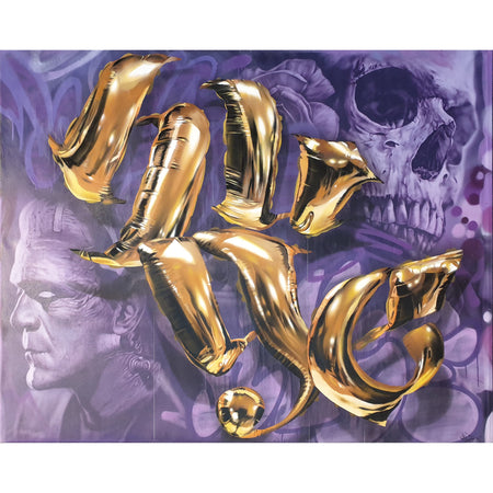 Gold Foil Baloons - Original Painting by Huge - Frankenstein & Skull on The Good Shop Online Store