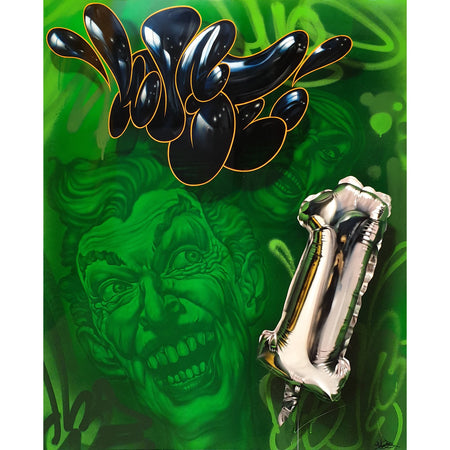Joker One Silver Foil Baloon - Huge - Original Painting on The Good Shop Online Store