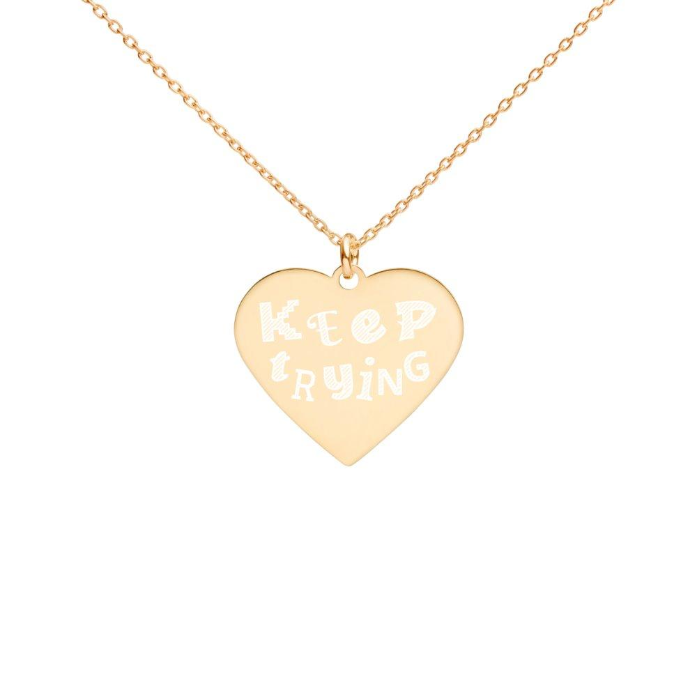 Keep Trying Heart Necklace 24K Gold Coated Silver on The Good Shop Online Store