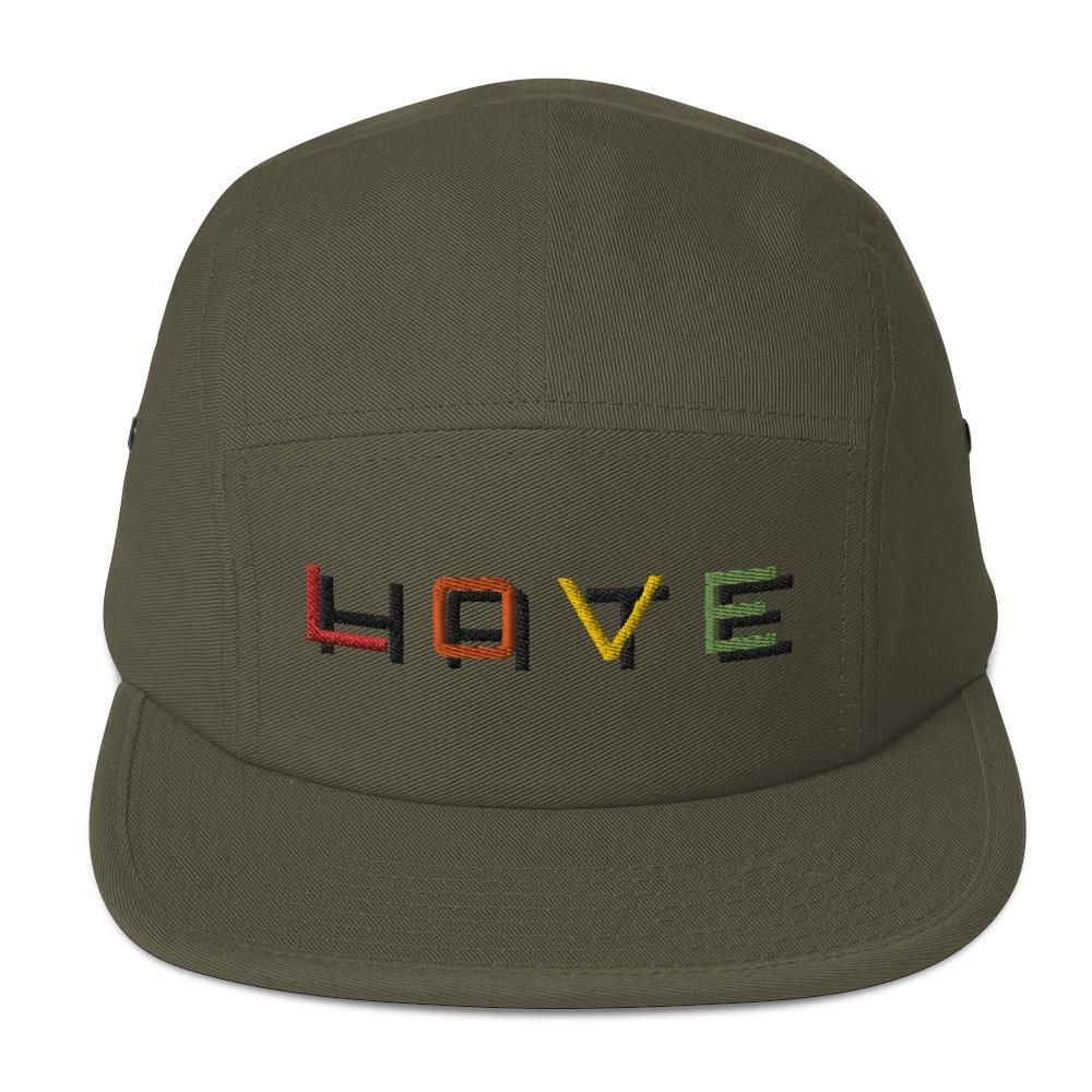 Love over Hate Five Panel Cap on The Good Shop Online Store