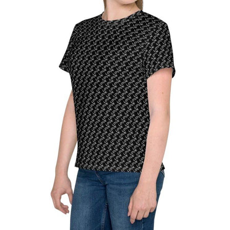 Love Pattern Kids T-Shirt - Black - Youth Sizes on The Good Shop Online Store