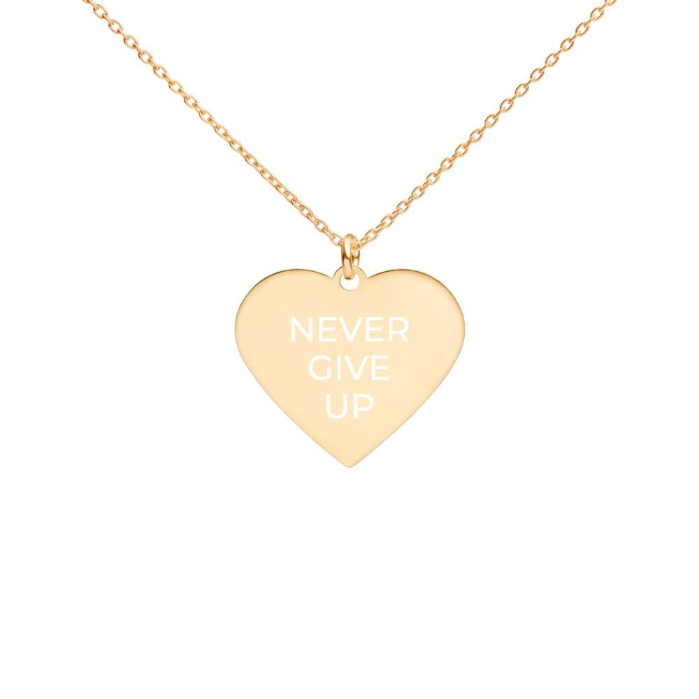 Never Give Up Heart Necklace 24K Gold Coated Silver on The Good Shop Online Store