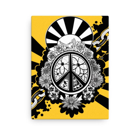 Peace Dove & Flowers Canvas Print - Yellow - Stefan Wentzel - Art By Wentzel on The Good Shop Online Store