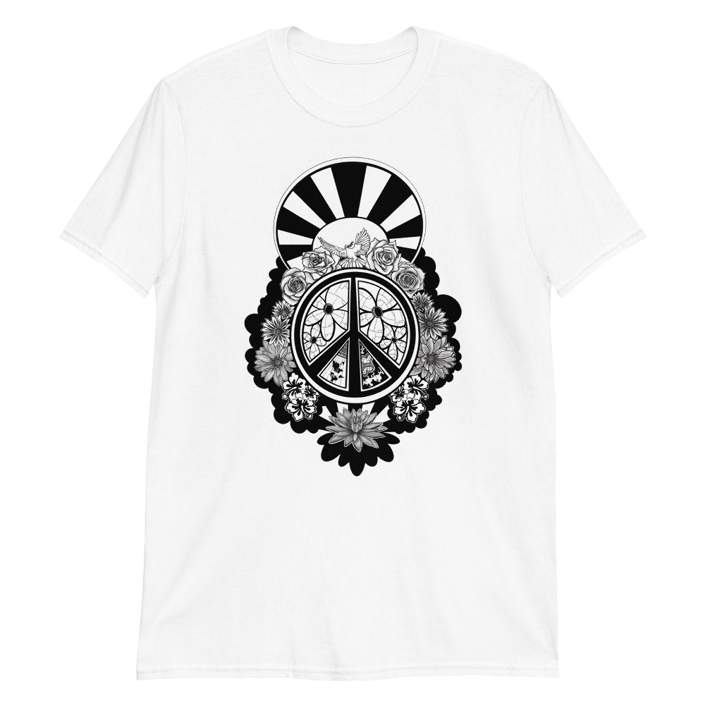 Peace Dove & Flowers T-Shirt - Stefan Wentzel - Art By Wentzel on The Good Shop Online Store