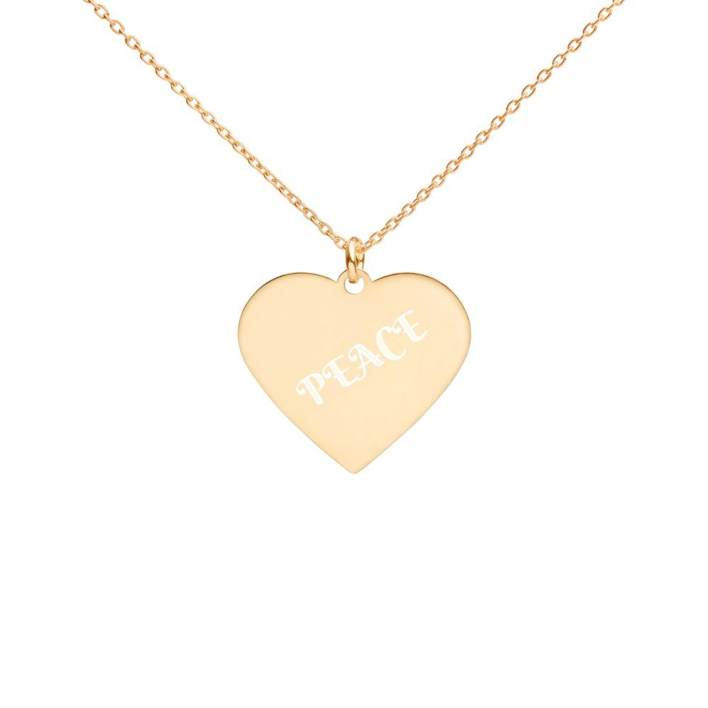 Peace Necklace Engraved 24K Gold Coated Silver on The Good Shop Online Store