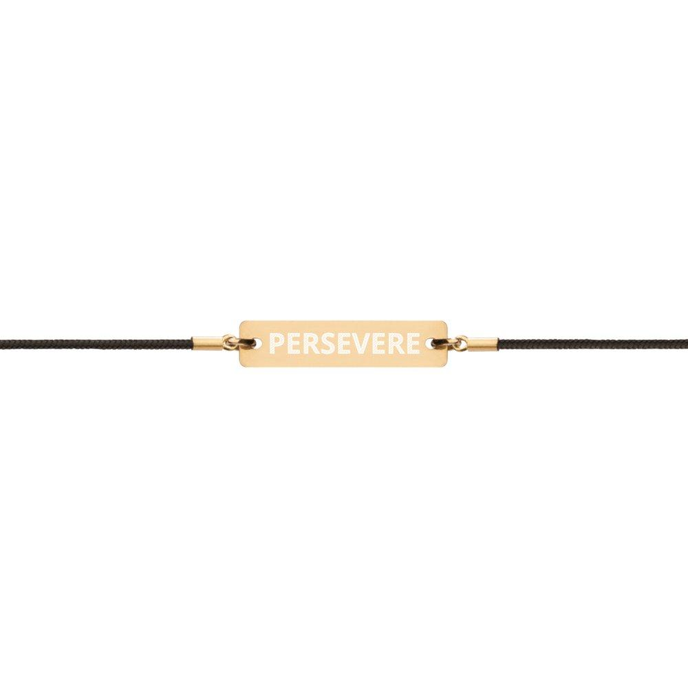 Persevere Bracelet Gold Coated Silver Bar with Vegan Leather String on The Good Shop Online Store