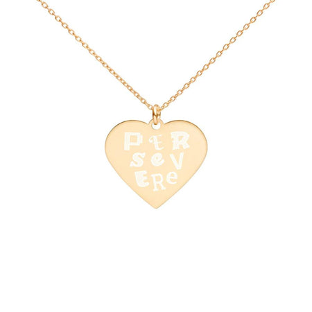Persevere Necklace 24K Gold Coated Silver Heart on The Good Shop Online Store