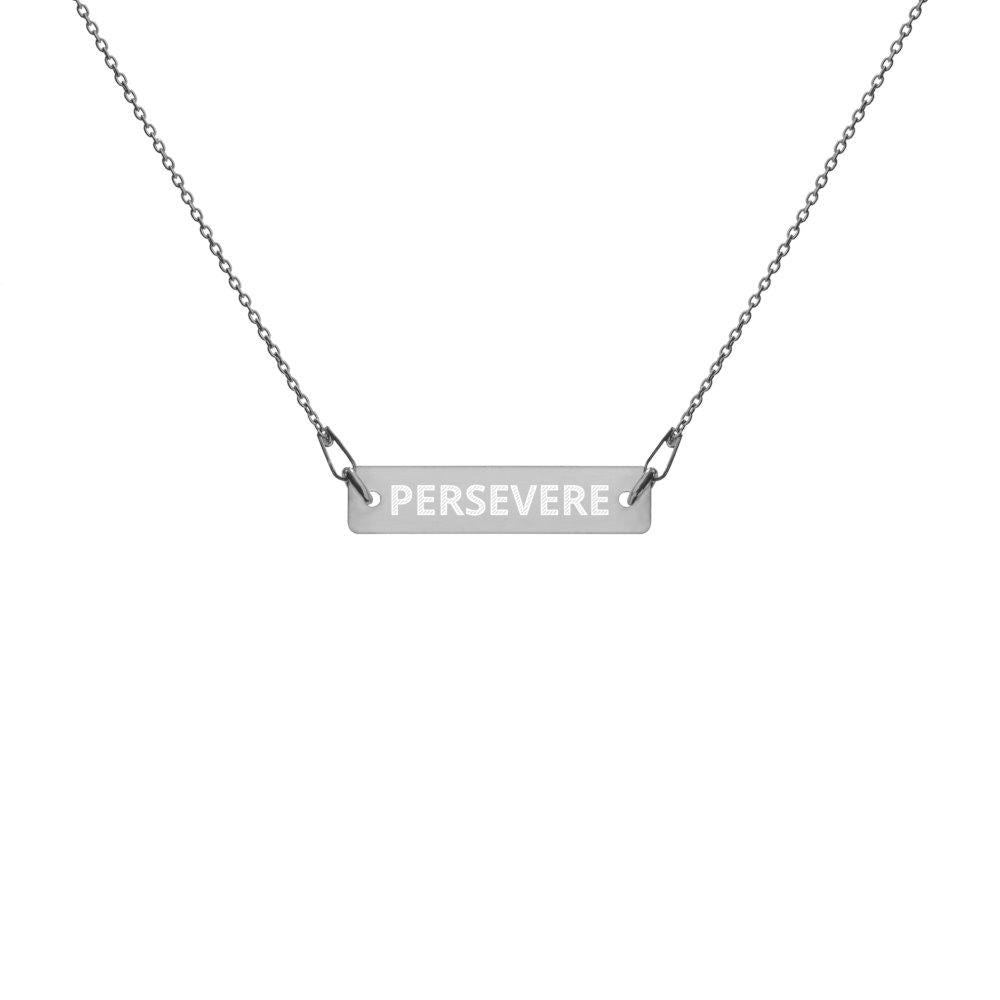 Perseverance Necklace, Engraved Silver Bar Chain, Black Rhodium Coating on The Good Shop Online Store