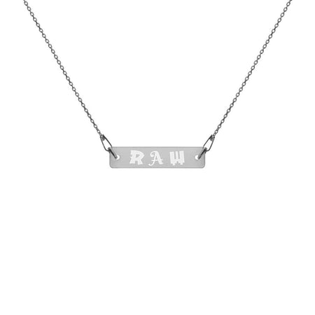 Raw Necklace Silver Bar with Black Rhodium Coating on The Good Shop Online Store