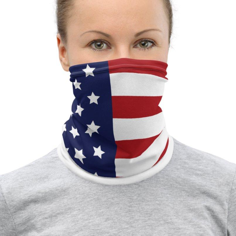 Stars and Stripes Neck Gaiter USA Flag Womens Medium on The Good Shop Online Store