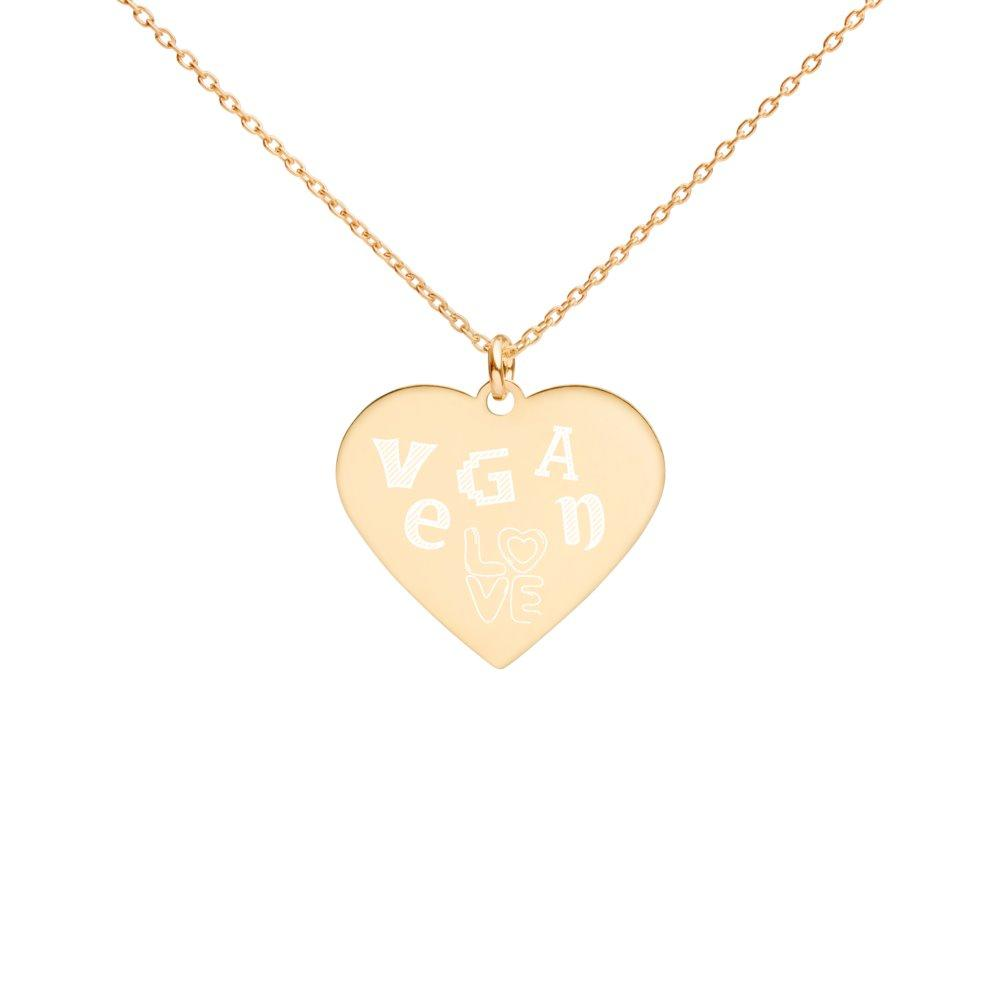 Vegan Love Heart Necklace 24K Gold Coated Silver on The Good Shop Online Store