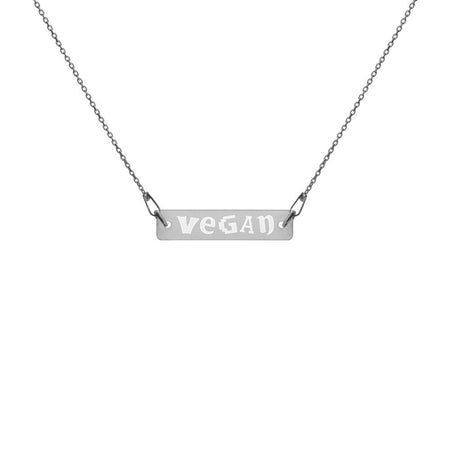 Vegan Necklace Engraved Silver Bar with Black Rhodium Coating on The Good Shop Online Store