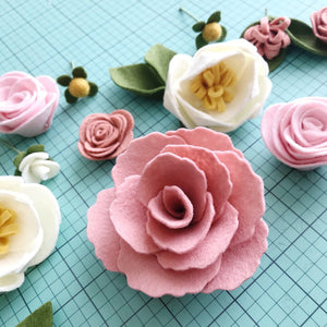 Heartgrooves Handmade Magnolia Rose Felt Flower Kit
