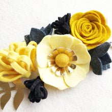 "Load image into Gallery viewer, Heartgrooves Handmade Felt Flower Craft Kit ""Black and Gold Mini"""
