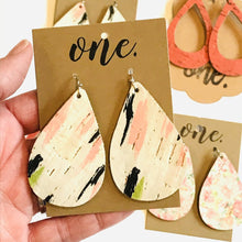 "Load image into Gallery viewer, One Designs Cork Leather Teardrop Earrings ""Spring Swashes"""